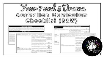 Year 7 and 8 Drama (Black & White)   Australian Curriculum Checklist