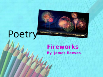 Year 7 lesson  Use of Similes and Metaphors in a poem; Fireworks by James Reeves