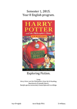 Year 8 10 Week Novel Study. Harry Potter and the Philosophers Stone