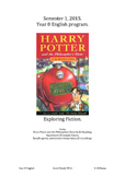 Year 8 10 Week Novel Study. Harry Potter and the Philosoph