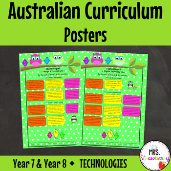 Year 7 and Year 8 Australian Curriculum Posters – Technologies