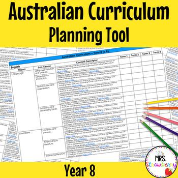 Year 8 Australian Curriculum Planning Tool