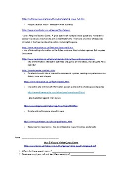 Year 8 History (Australia) Interactive Activities, games and worksheets