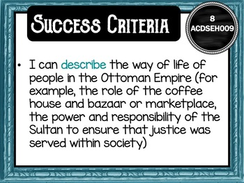 Year 8 History – (Australia) Learning GOALS & Success Criteria Posters