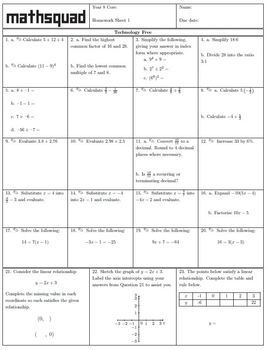 Year 8 Mathsquad Weekly Homework Sheets and Solutions (Core)