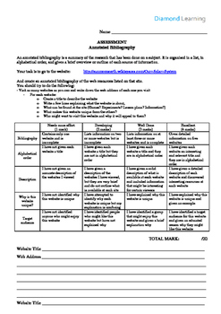 Year 8 Space Geography Assessment - Annotated Bibliography