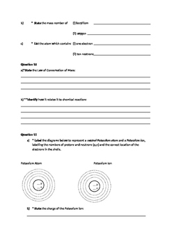 Year 9 Chemistry Practice Revision Test