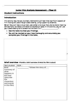 Year 9 Film Analysis Assessment