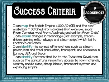 Year 9 History – (Australia) Learning GOALS & Success Criteria Posters
