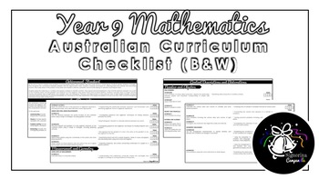 Year 9 Mathematics (Black & White) | Australian Curriculum Checklist