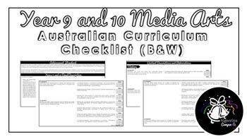Year 9 and 10 Media Arts (Black & White) | Australian Curriculum Checklist