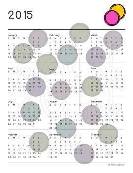 Year At A Glance Calendar 2015,16, 17