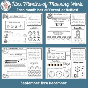 Year BUNDLE! Daily Literacy & Math Morning Work {Pre-K & Kinder} No Prep!