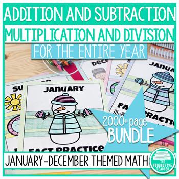 Year Bundle Fact Practice: Multiplication, Division, Addit