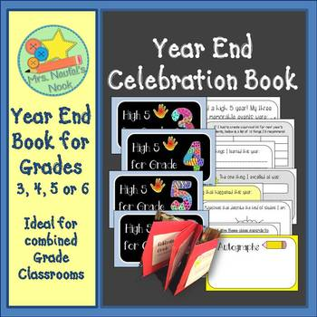 End of Year Celebration Book - Writing Lists, Events and Autograph Page