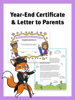 End of Year Certificate of Completion and Letter to Parents