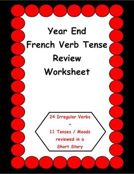Year End French Verb Tense Review Worksheet (High School)
