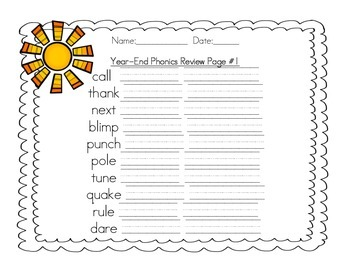 Year-End Phonics Review Practice Pack