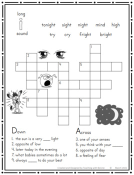 Cross Word Puzzles: Review Spellings of all Long Vowels Great Review