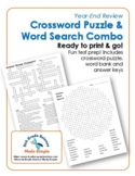 Year-End Science Review Crossword Puzzle & Word Search Combo