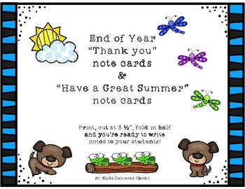 End of Year Thank You & Have a Great Summer Note Cards