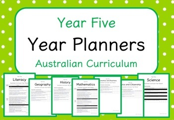 Year Five - Year Planners BUNDLE! (Australian Curriculum)