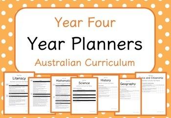 Year Four - Year Planners BUNDLE! (Australian Curriculum)