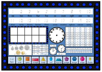 Year Grade 1 MATHS NUMERACY desk mat in S.A. South Australian Font