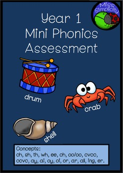 Year Grade 1 Mini Phonics Assessment pack – 2 page assessment