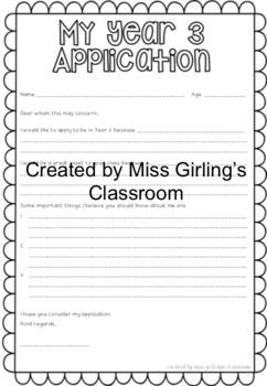 Year/Grade Application {Years 1-6}