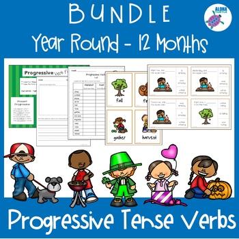 Year Round - 12 Months BUNDLE - PROGRESSIVE Tense Verbs