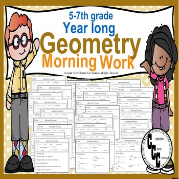 6th Grade Geometry Morning Work Back to School