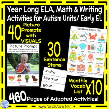 Year Long Adapted Academics with 10 Monthly Themes for Autism Units/Early Elem.