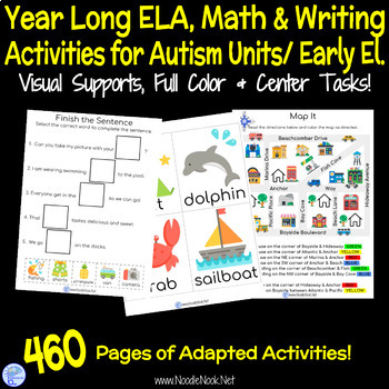 BUNDLE of Year Long Adapted Academics- 10 Monthly Themed Units for Autism Units