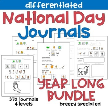 Year long national day journals leveled with symbol support for special education classrooms