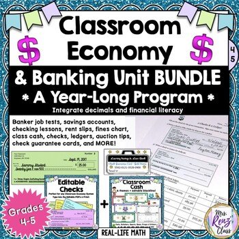 Classroom Economy Materials & Banking Unit Yearlong Program