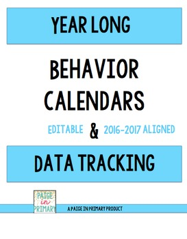 LIFE TIME USE & UPDATES~ Year Long Behavior Calendar and Data Tracking