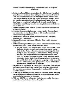 Year Long Book Clubs - 5th & 6th grades