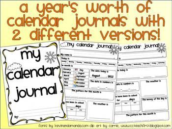 Year Long Calendar Journals