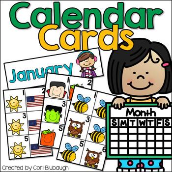 Calendar Cards - Year Long Resource