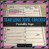 Year Long Class Topic Tracker