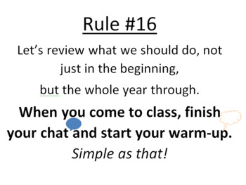Year Long Classroom Rules - Based off of The Essential 55
