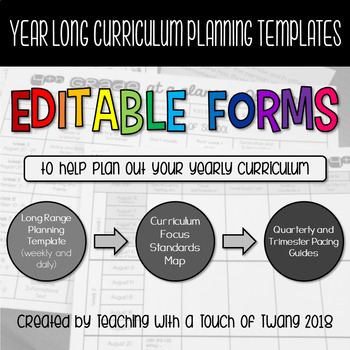 Year Long Curriculum Planning Templates - EDITABLE