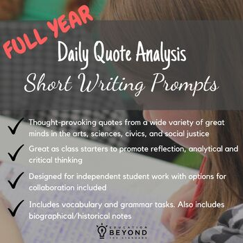 Year Long Daily Quote Analysis: Short Writing Prompts with Vocabulary/Grammar