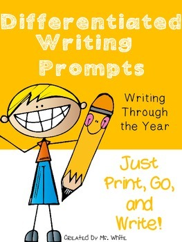 Year Long Differentiated Writing Prompts {80 Print, Go, and Write Prompts}