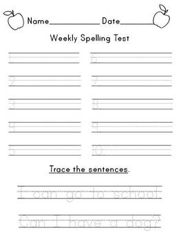 Year Long First Grade Common Core Spelling Tests
