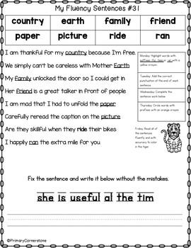 Sight Word Practice-Sight Word Fluency-Fluency Sentences-Grammar & Vocabulary