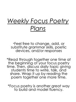 Year Long Focused Poetry Pack with Poems and Lesson Plans