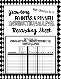 Year-Long Fountas & Pinnell Instructional Level Recording Sheet - EDITABLE