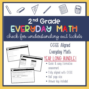 Year Long {GROWING} BUNDLE 2nd Grade Everyday Math Exit Slips